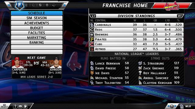 mlb 12 franchise